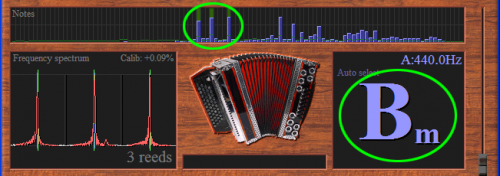 The tuner can measure chords which exist of three notes