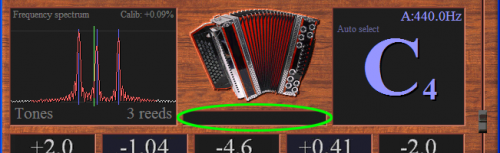 Click on the text below the image of the accordion in the main screen of the tuner