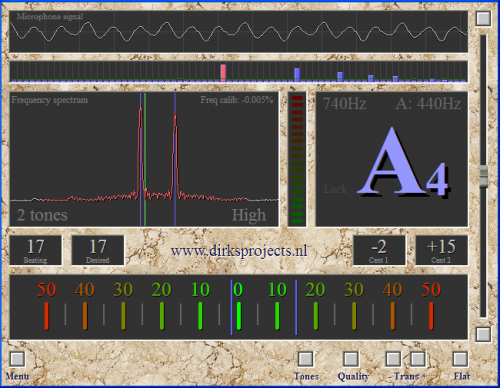Accordeur d'instruments chromatiques de Dirk v1.3